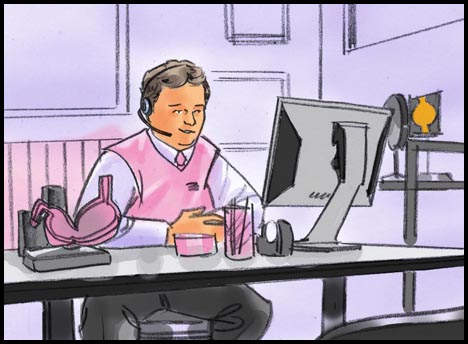 Pepto-Bismol call center expert at desk with computer and headset, color storyboard frame