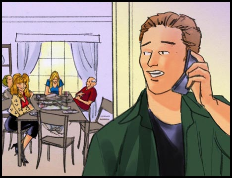 Young man on the phone, wife and in-laws at dinner table in the background, color storyboard frame