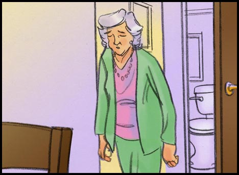 Grandmother leaves bathroom with toilet visible through the door, color storyboard frame