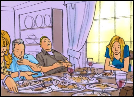 Family groaning with indigestion at thanksgiving dinner table, color storyboard frame