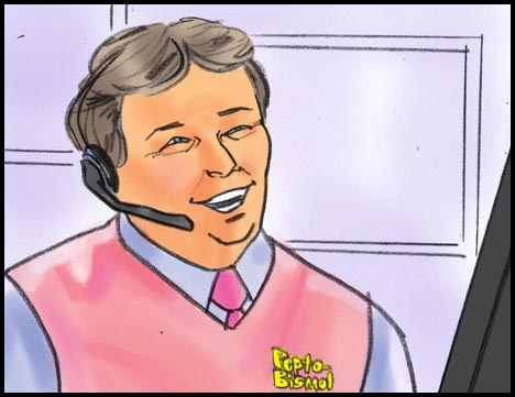 Pepto-Bismol call center man in close up, color storyboard frame