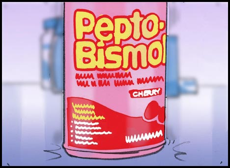Pepto-Bismol product on counter top, color storyboard frame