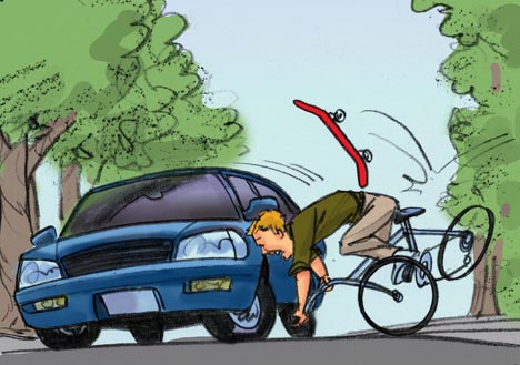 Man falls off bicycle in front of car color storyboard frame