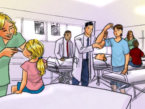 People being treated at hospital in emergency room, color storyboard frame