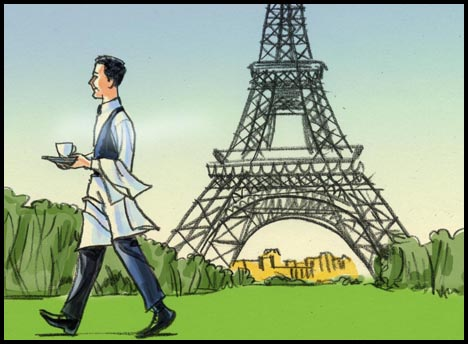Waiter carries coffee past the Eiffel tower, color storyboard frame