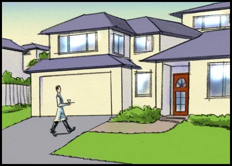 Waiter with coffee walking up driveway of a suburban American house, color storyboard frame