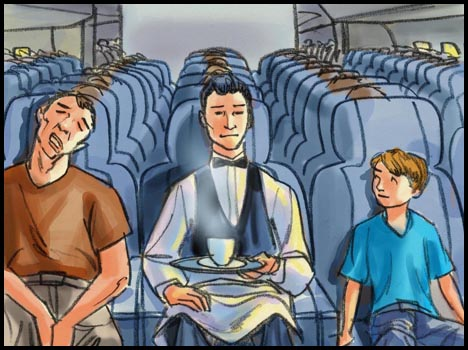 Waiter sitting on plane, with coffee on a tray, color storyboard frame