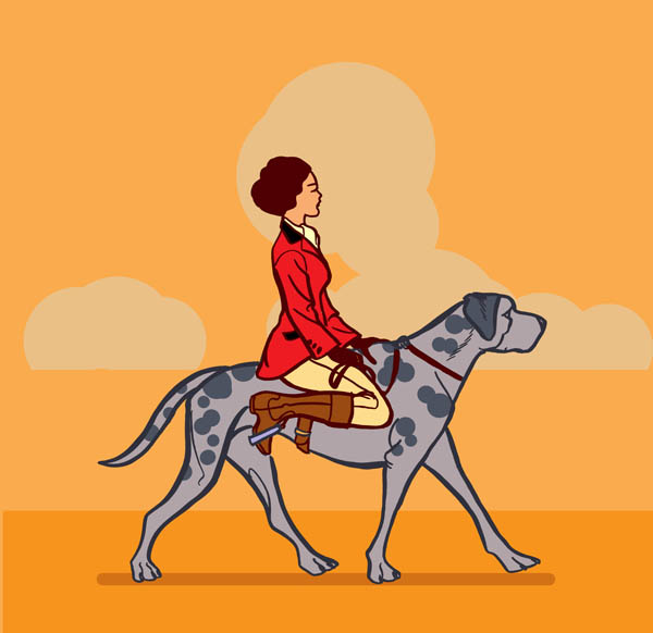 Color illustration of a woman in riding clothes on top of a great dane dog, by artist Steve Worthington