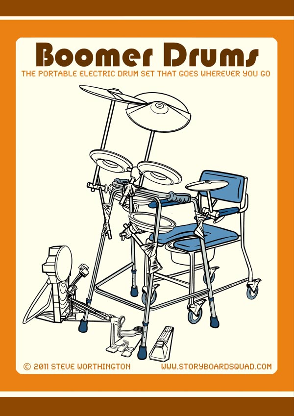 Humorous technical drawing style color illustration of electronic drums duct taped to a walker, which is placed around a toilet chair, by artist Steve Worthington