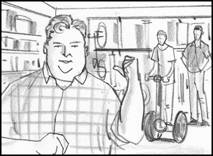 Introduction to neighbors in a garage. Quick, sketchy, lively storyboard drawing