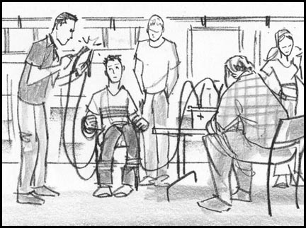 Miscreant neighbor is taped to a chair and shown clamps connected to the car battery. Quick, sketchy, lively storyboard drawing