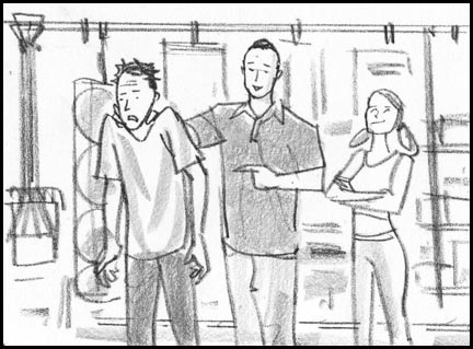 A miscreant neighbor is brought into the garage. Quick, sketchy, lively storyboard drawing