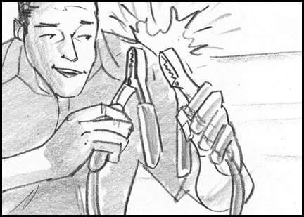 A man taps the clamps connected to the car battery together, making sparks. Quick, sketchy, lively storyboard drawing