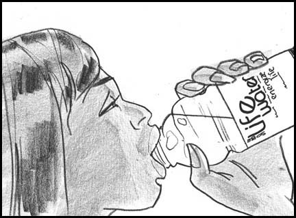 Close up Naomi Campbell drinks Sobe life water. Line drawing storyboard panel