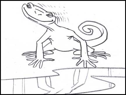 >Lizard starts to do strange head moves after licking up some spilled Sobe life water. Line drawing storyboard panel