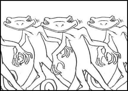 Several lizards start to do 'Thriller' dance moves in synch. Line drawing storyboard panel