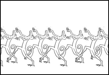 Side view of lizards dancing to Michael Jackson's Thriller. Line drawing storyboard panel