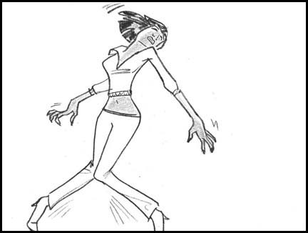 Naomi Campbell dancing Michael Jackson's dance moves from 'Thriller'. Line drawing storyboard panel