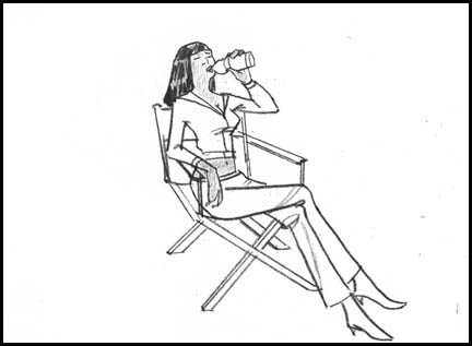 Naomi Campbell drinks Sobe water. Line drawing storyboard panel