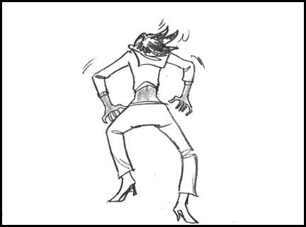 Naomi Campbell from behind doing same dance moves as lizards. Line drawing storyboard panel