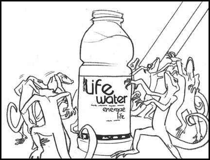 All the lizards are dancing around the Sobe life water both as 'Thriller' plays. Line drawing storyboard panel