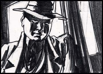 Medium close up of kid leaning on lamp post, film noir style black and white storyboard frame