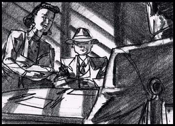 Boy and parents in film noir 1940's setting, at the dinner table, black and white storyboard frameblack and white storyboard frame