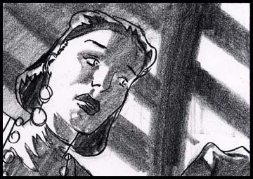Film noir style 1940's looking woman, black and white storyboard frame