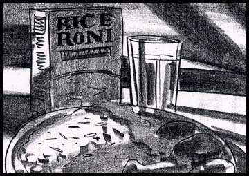 Film noir style table top drawing of Rice a Roni black and white storyboard frame