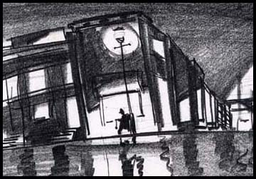 Wide shot across street, moody film noir sketch of kid with yoyo. Black and white storyboard frame