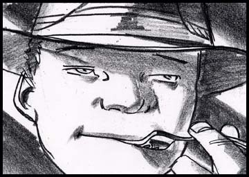 Close up of boy with fork in his mouth, film noir style black and white storyboard frame