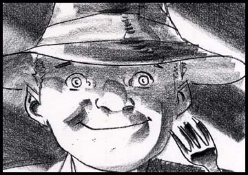 Close up of boy smiling in film noir style, black and white storyboard frame