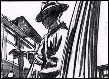 Boy in period 40's costume, film noir style, with yoyo, black and white storyboard frame